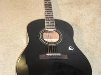 Black Epiphone AJ-100 EB Acoustic Guitar. Jumbo body