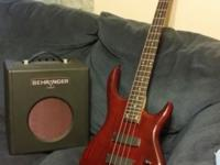 I'm selling an epiphone embassy bass guitar that's red