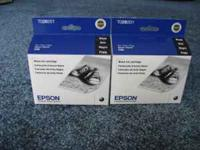 2 Epson TO28 black ink cartridges, in box, never used.