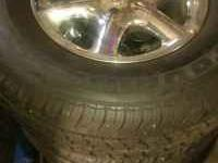 SET OF OEM CHROME ESCALADE RIMS AND TIRES. RIMS ARE