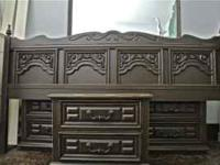 An amazing antiqued espresso bedroom suite for sale.