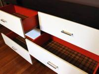 Espresso with white drawers, contemporary 6 drawer wood