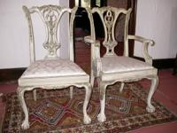 8 Solid Mahogany, Painted White With Carving Detailed