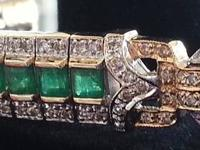 Antique Estate Colombian Emerald and Diamond Bracelet
