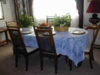 Up for sale is a really nice, dinning room table and 6