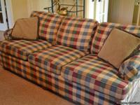 "Ethan Allen brand couch: 84"" long, 32"" high, 36"""