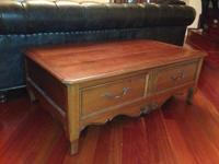 Ethan Allen 2 Tier Bamboo Inspired Coffee Table Excellent