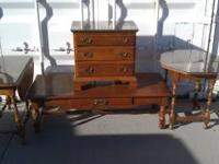 This is a set of ethan allen coffee table and different