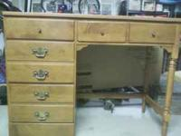 Ethan Allen matching desk, chair, and mirror Solid