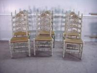 Set of 6 paint decorated ladder back chairs made by