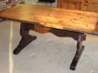 "Trestle Table comes complete with two 15"" leaves, two"
