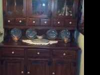 Dark Pine Oval table with 2 leaves, 2 end chairs with