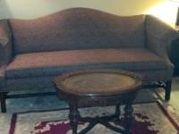 Ethan Allen Queen Anne Couch for sale, maroon, navy and
