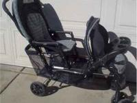Evenflo double stroller for sale. Navy color. Great