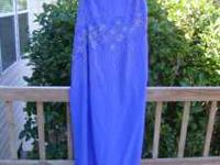 Royal Blue Evening Gown with one strap and beaded on