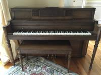 Everett Console Piano. Pecan Wood. Moving. Must Sell.