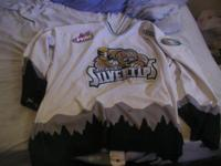 White authentic Silvertips jersey, worn only a handful