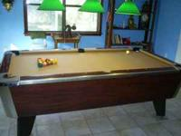 REALLY NICE BAR POOL TABLE,,COIN SLOT REMOVED FOR HOME