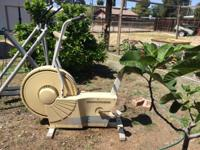 Older stationary exercise bicycle. Works good, needs to