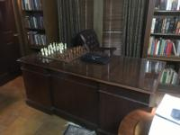 Very large (6' x 3') walnut executive desk with chair