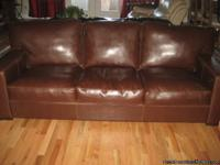 Beautiful Brown Leather Sofa, must sale, puchased at