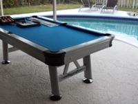 Extera Outdoor Pool Table Description: Sleek outdoor