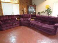 This is a very large 3 piece sectional. Burgandy in