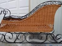 "Vintage Wicker and Metal Sleigh Measures 32"" length,"