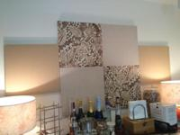 Beautiful Fabric Art Panel. Beige/earth tones. Overall