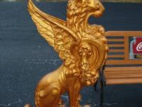 Fabulous Gold Winged Griffin Cast Aluminum Plant Stand