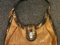 Fabulous MC Brown Faux Crocodile Leather Hobo Bag Tote
