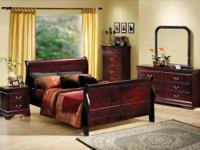 Beautiful Cherry stained Sleigh Style Bedroom Set 6pcs.