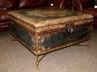Square carved trunk / coffee table on wrought iron base