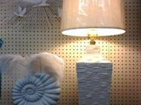 Fabulous White Italian Basket Weave Lamp. 30' Tall.