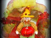 "18 - 22"" Fall Wreath handmade with DecoMesh, Scarecrow,"