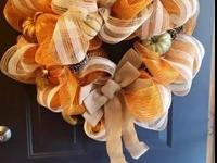 Fall themed decomesh wreath in orange and burlap with