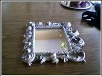 "fancy silver colored mirror, 8 1/2"" x 6 1/2"", good"