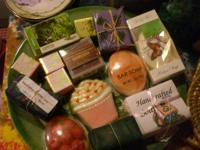 Wonderful assortment of fancy soaps, candles, wax