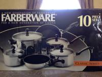Offering a Farberware 10-pc set. It is still sealed.