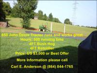 FOR SALE! 650 John Deere Tractor runs and works