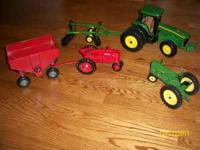 John Deere 8420 with drag, John Deere 60, and Farmall M
