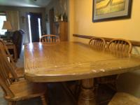 Farm/Dining Table and 6 chairs. Solid Oak, very sturdy