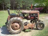 1947 Farmall A tractor. In running condition. 12 volt