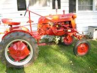 FARMALL CUB WITH IH BLADE,TRACTOR IN NICE SHAPE WITH