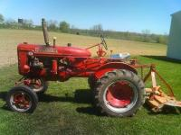 Farmall Super A with 3 point hitch and 5' mower. Runs