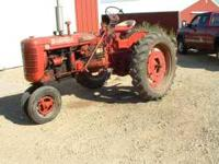 farmall superC with 2 row cultivator runs good looks