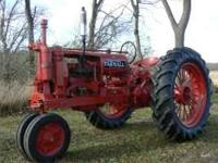 Farmall tractors for sale from the 1930's to 1960's.