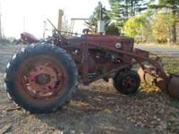 Farmall SM with snow bucket loader power steering live