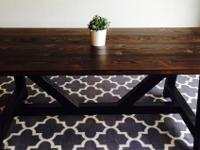 Large, oversize handmade farmhouse dining table.