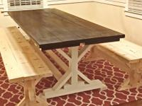 Handmade Pottery Barn-inspired farmhouse table.